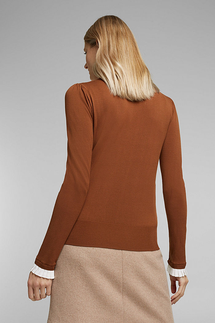 Jumper with a frilled blouse insert, TOFFEE, detail image number 3