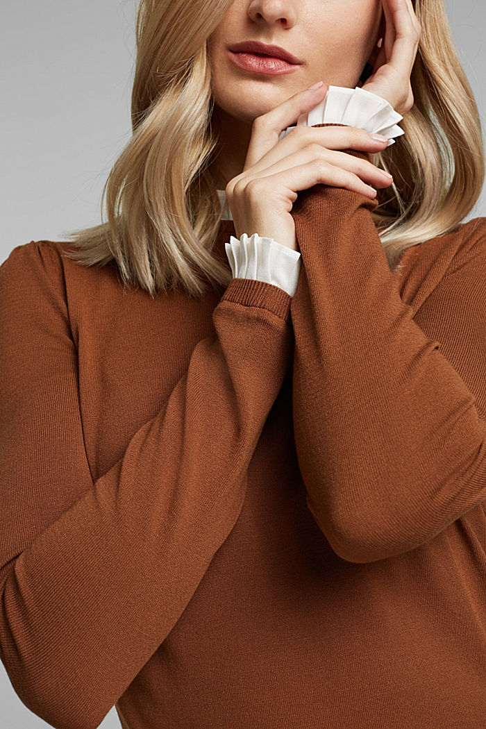 Jumper with a frilled blouse insert, TOFFEE, detail image number 2