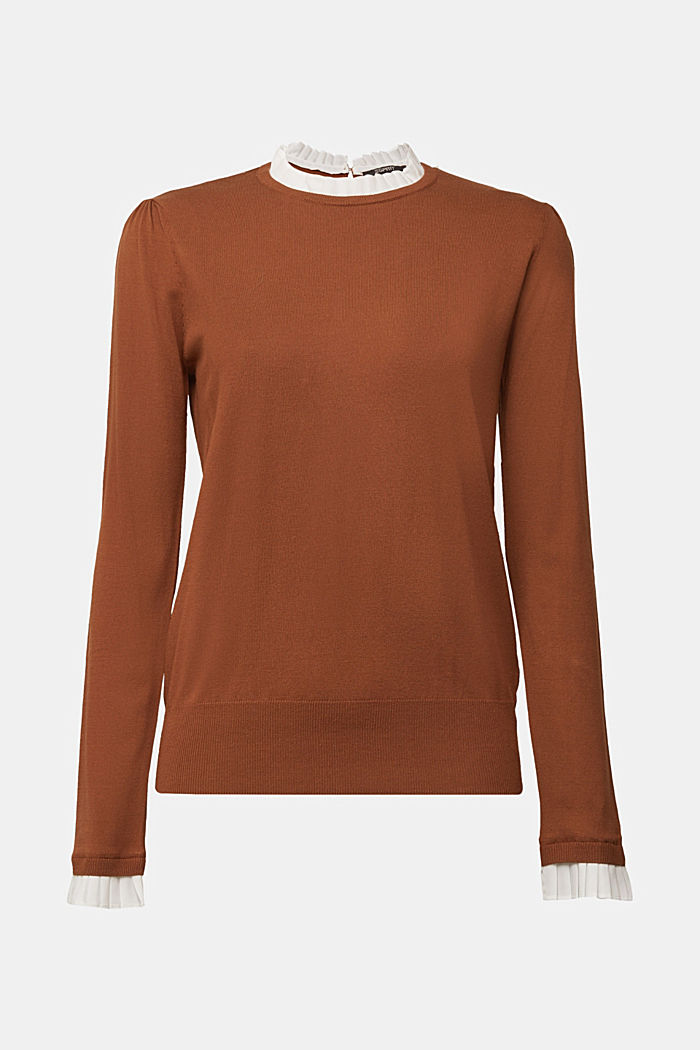 Jumper with a frilled blouse insert, TOFFEE, detail image number 6