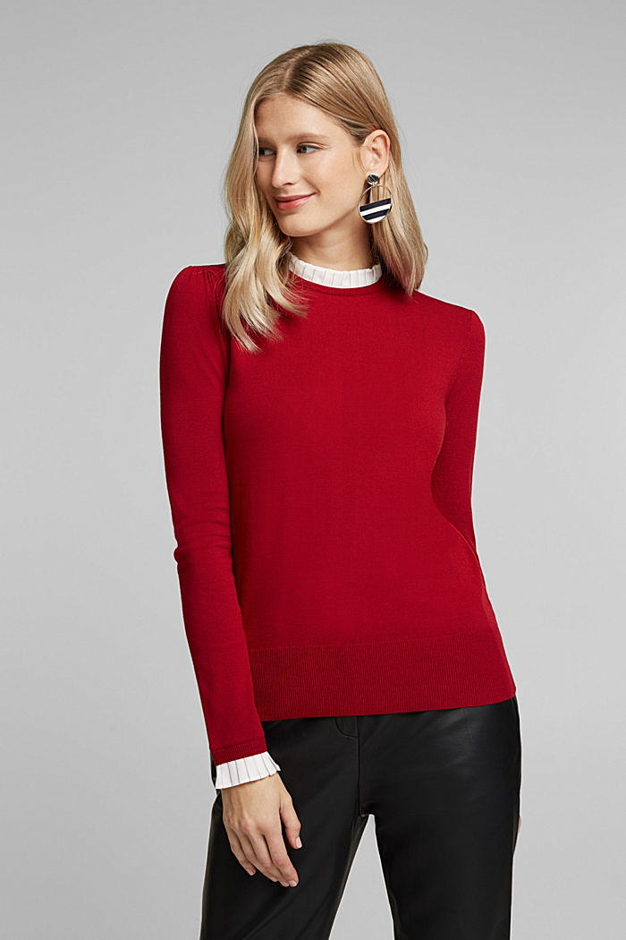 Jumper with a frilled blouse insert, DARK RED, detail image number 0