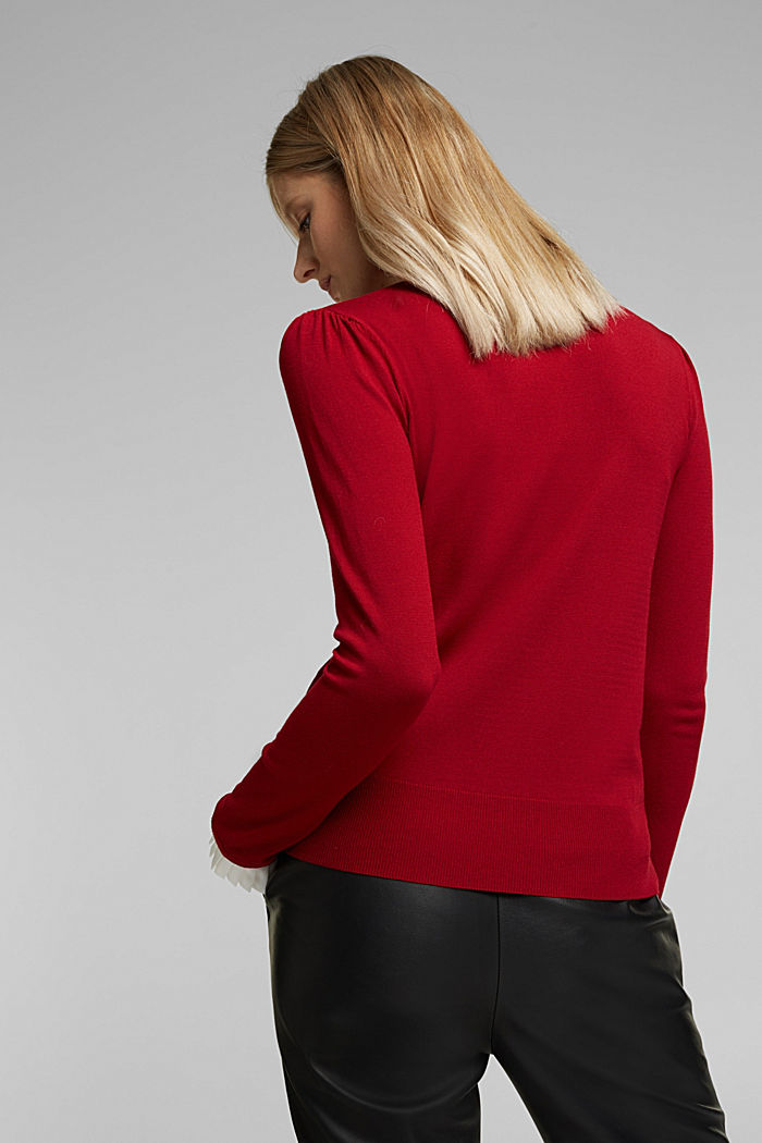 Jumper with a frilled blouse insert, DARK RED, detail image number 3