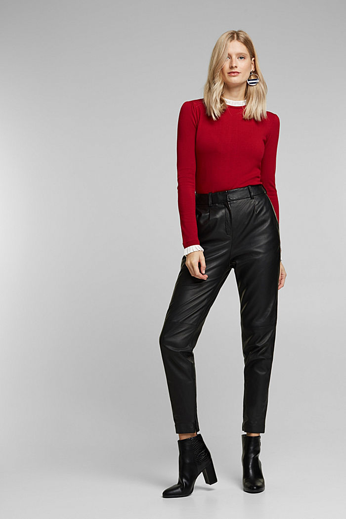Jumper with a frilled blouse insert, DARK RED, detail image number 1