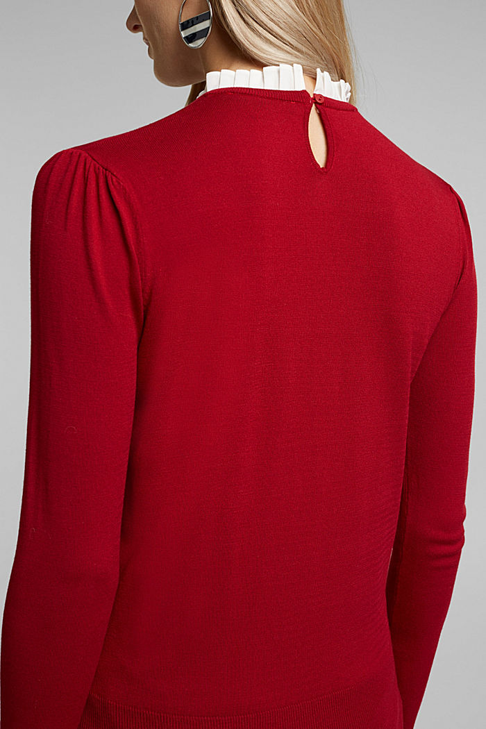 Jumper with a frilled blouse insert, DARK RED, detail image number 2