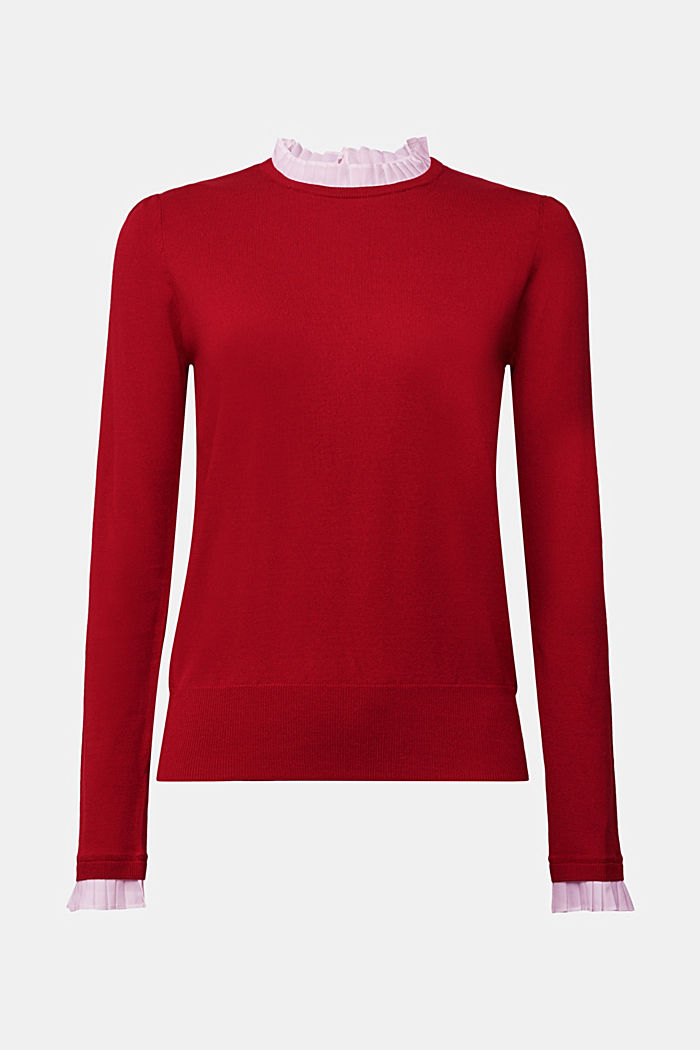 Jumper with a frilled blouse insert, DARK RED, detail image number 6