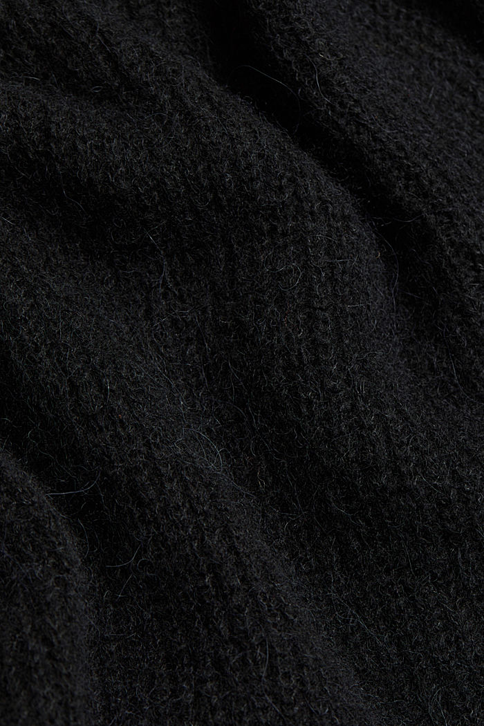 With wool and alpaca: short cardigan, BLACK, detail image number 4