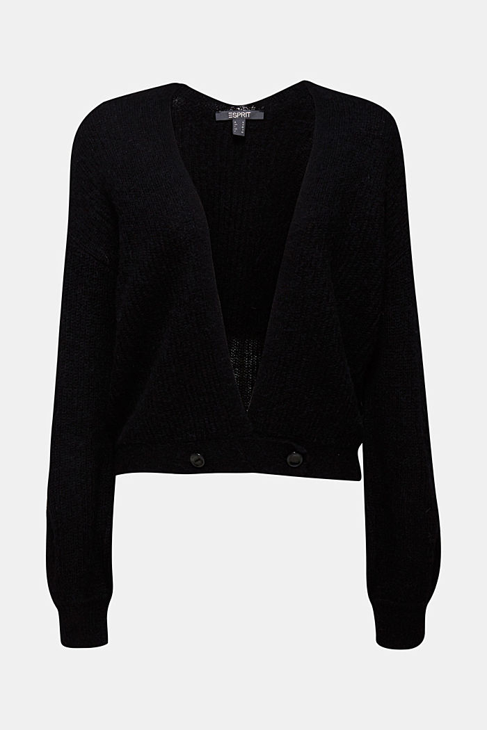 With wool and alpaca: short cardigan, BLACK, detail image number 7