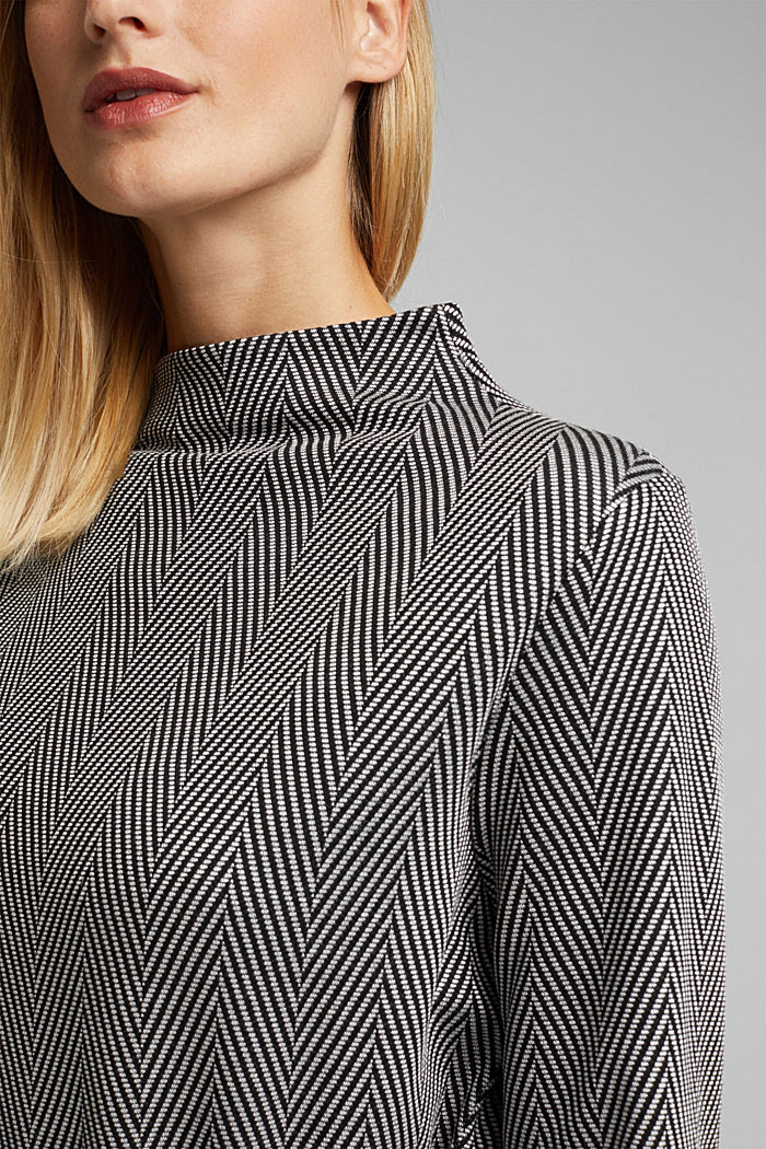 Recycled: long sleeve top with LENZING™ ECOVERO™, BLACK, detail image number 2