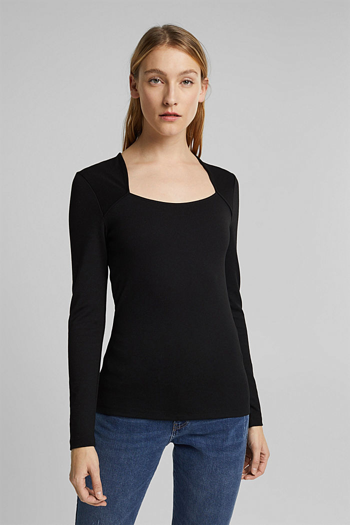 Long sleeve top with LENZING™ ECOVERO™, BLACK, detail image number 0