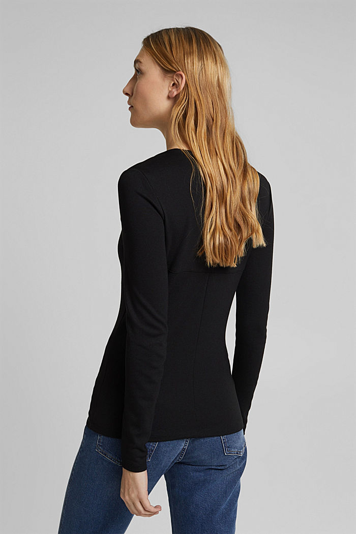 Long sleeve top with LENZING™ ECOVERO™, BLACK, detail image number 3