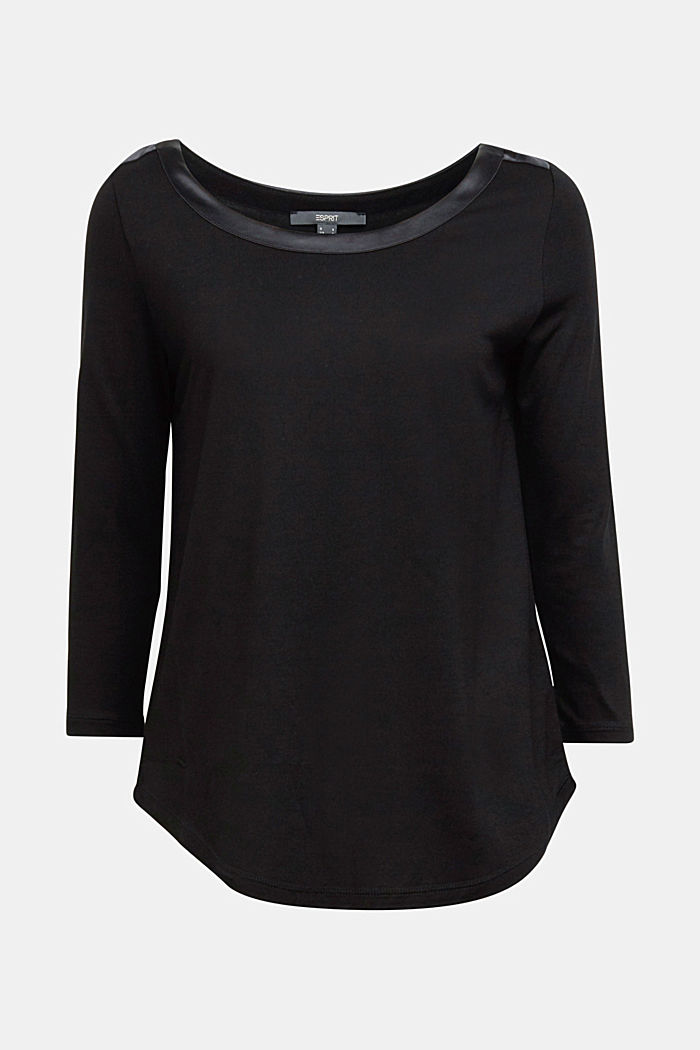 Long sleeve top made of LENZING™ ECOVERO™, BLACK, detail image number 5