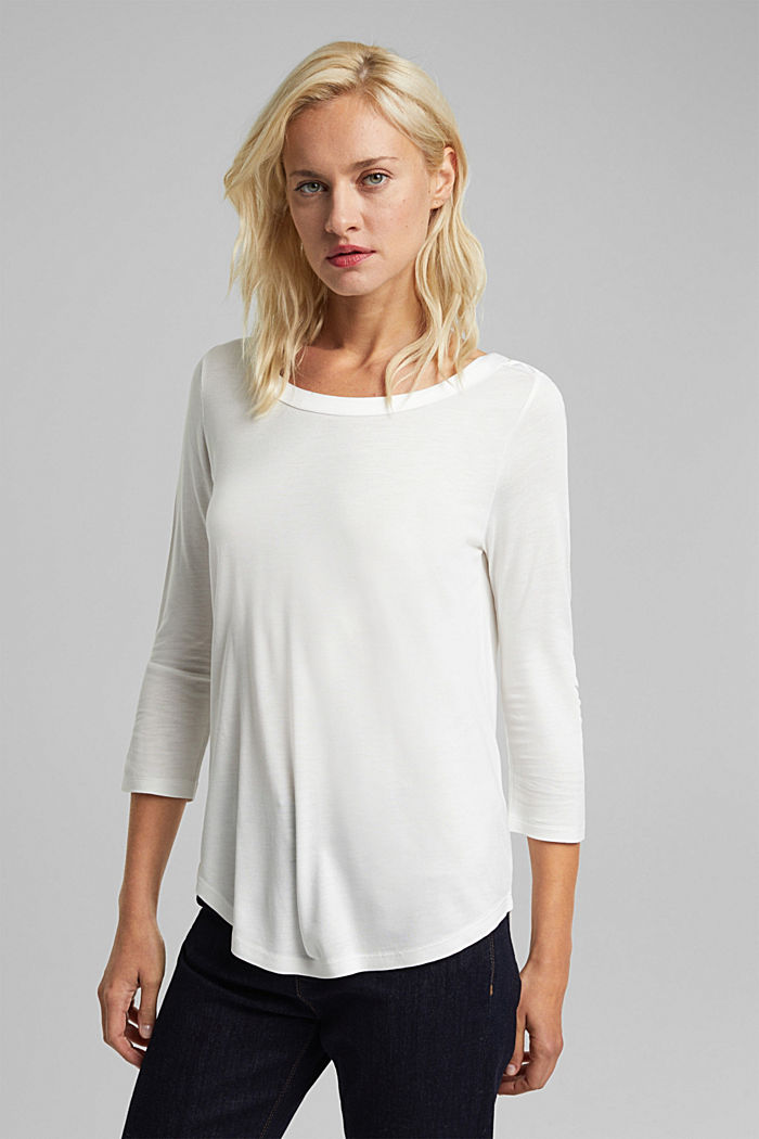 Long sleeve top made of LENZING™ ECOVERO™, OFF WHITE, detail image number 0
