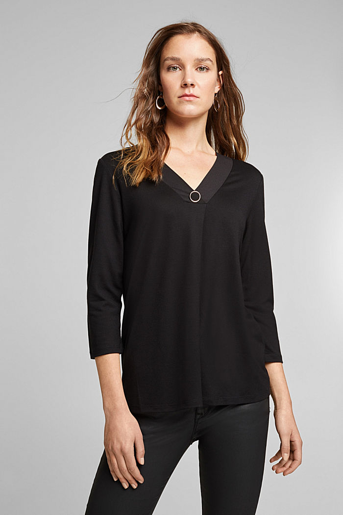 Recycled: long sleeve lyocell blend top