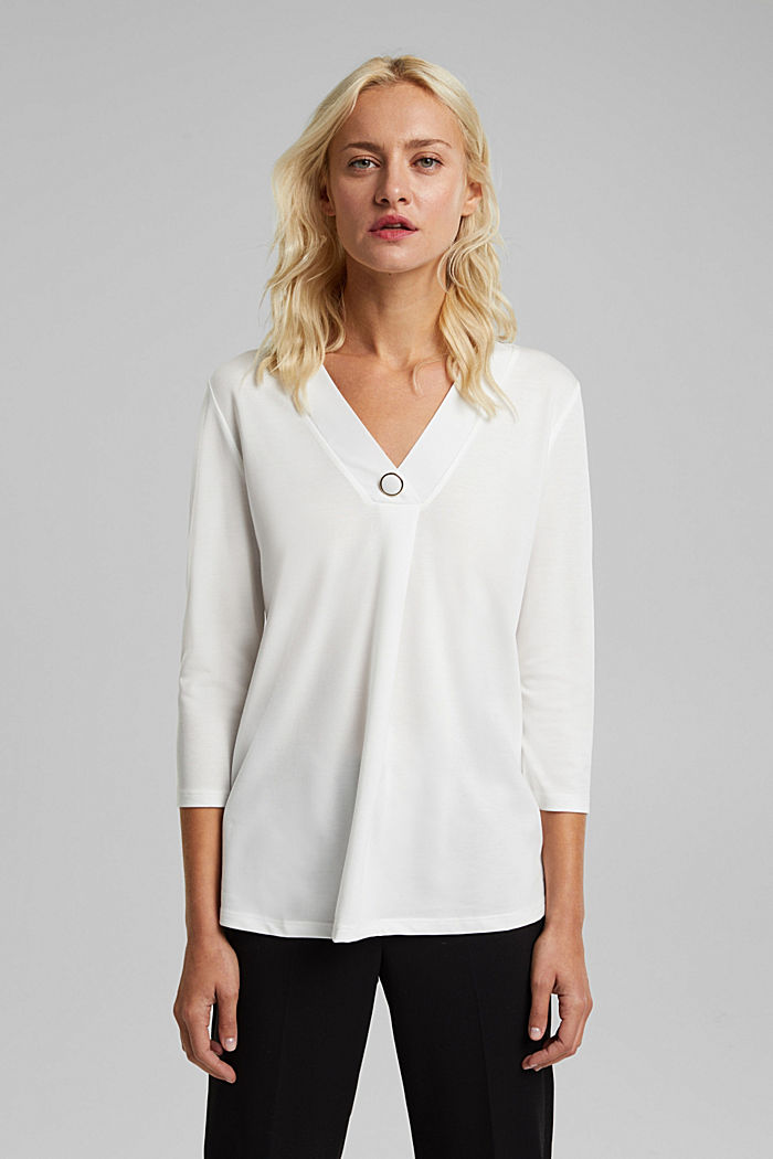 Recycled: long sleeve lyocell blend top, OFF WHITE, detail image number 0