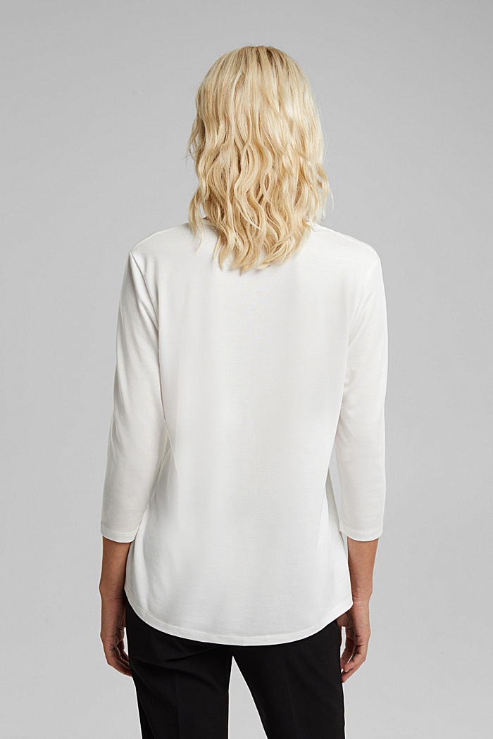 Recycled: long sleeve lyocell blend top, OFF WHITE, detail image number 3