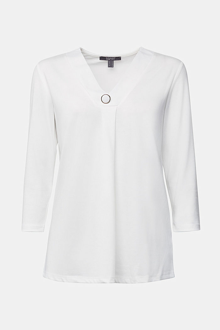 Recycled: long sleeve lyocell blend top, OFF WHITE, detail image number 5