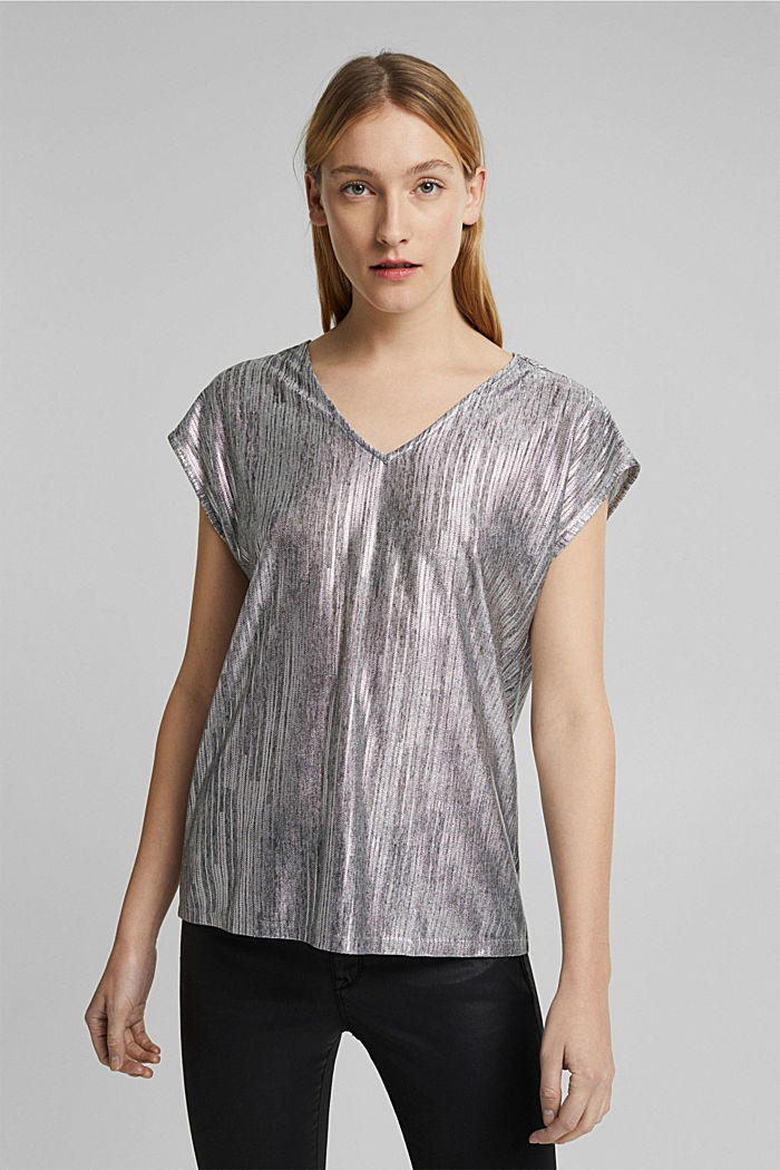 Metallic print T-shirt, GUNMETAL, detail image number 0