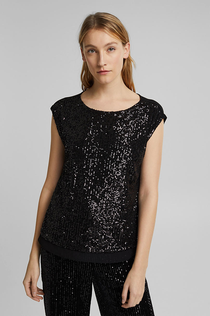 Recycled: jersey top with sequins