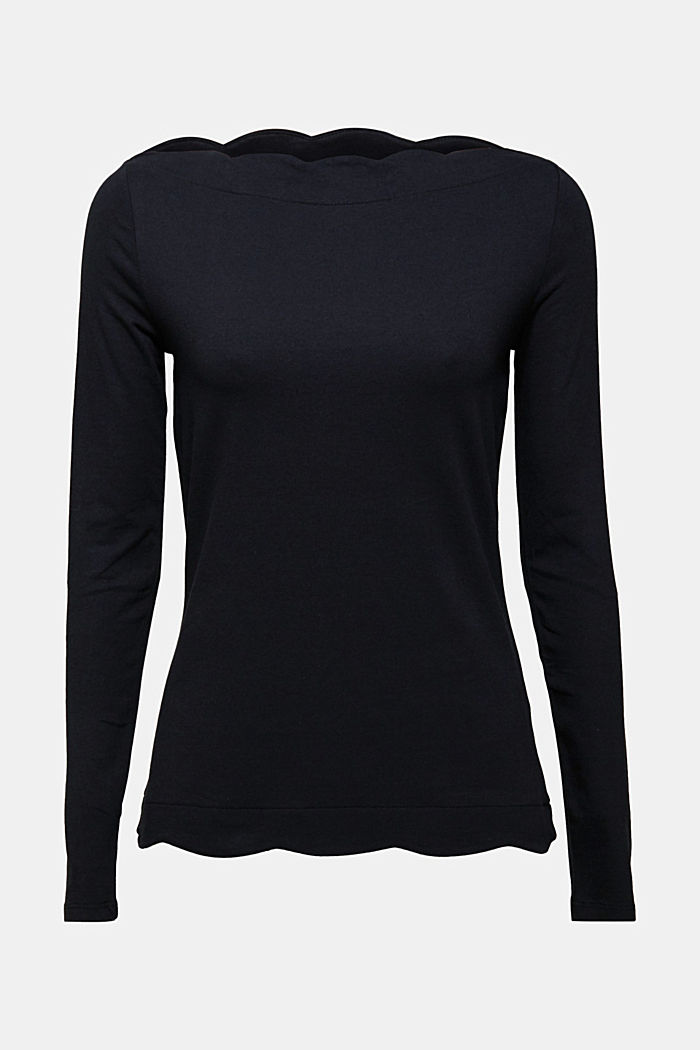 Long sleeve top with organic cotton, BLACK, detail image number 5