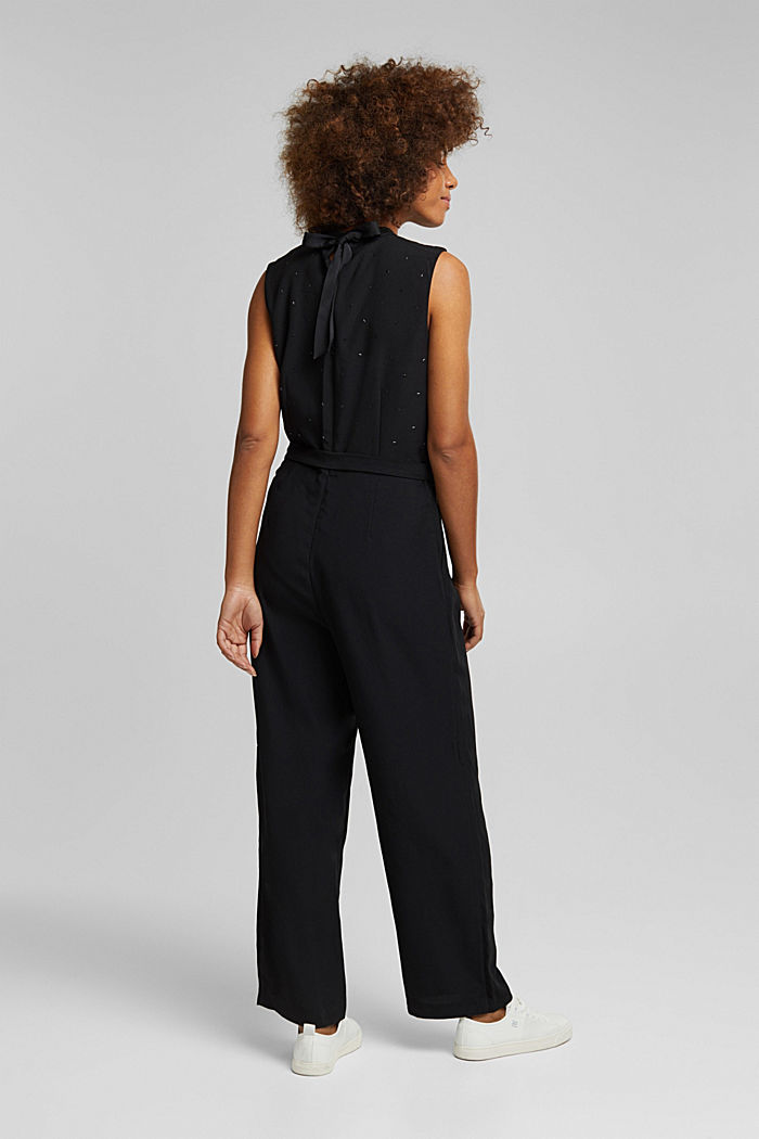 Jumpsuit with gemstones, BLACK, detail image number 3
