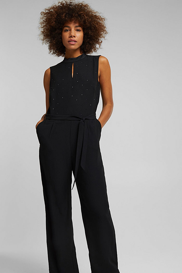 Jumpsuit with gemstones, BLACK, detail image number 6