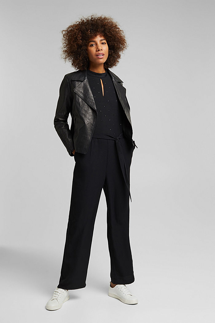 Jumpsuit with gemstones, BLACK, detail image number 1
