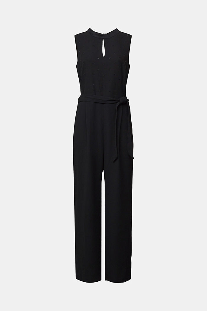 Jumpsuit with gemstones, BLACK, detail image number 7
