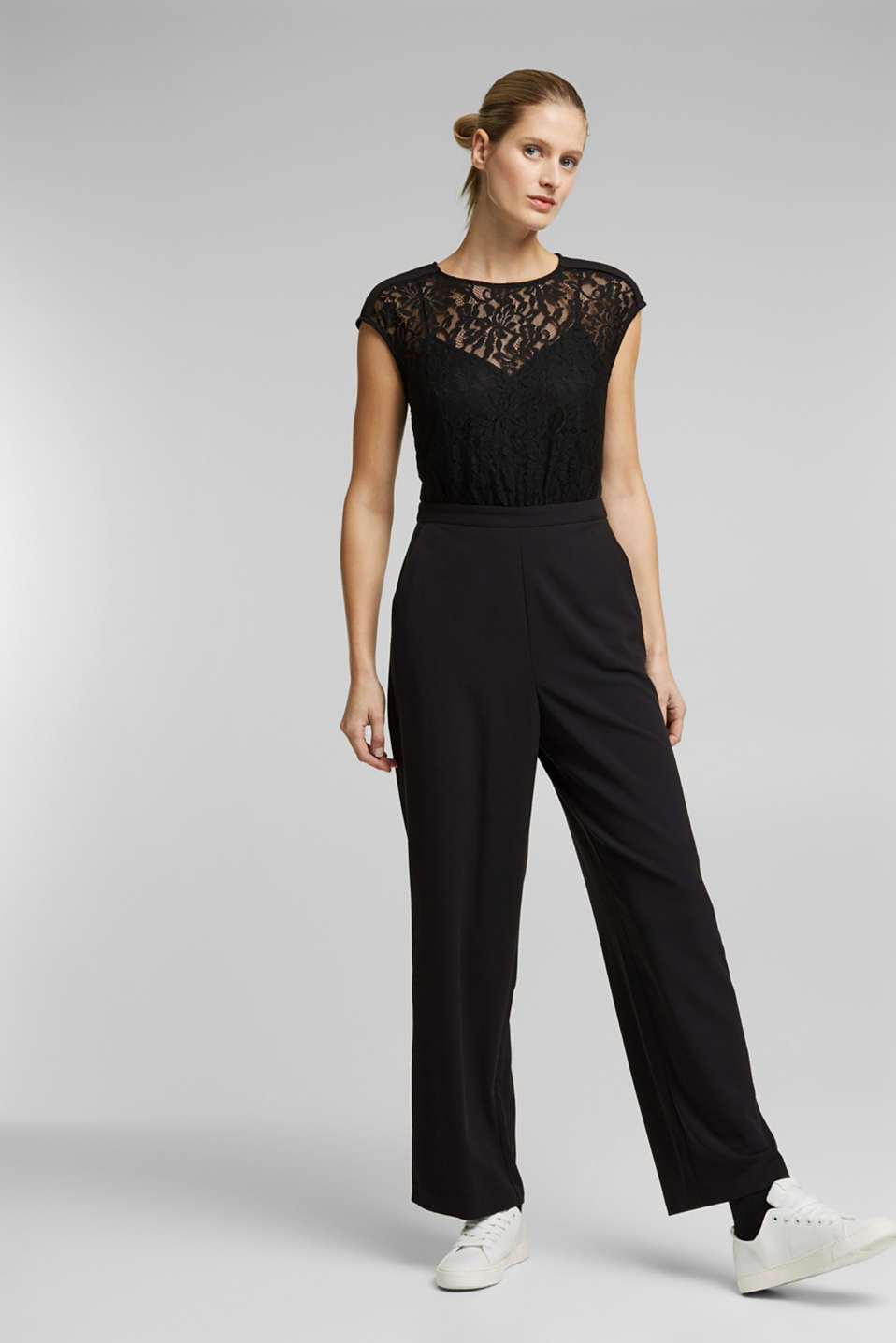 Esprit - Jersey and lace jumpsuit
