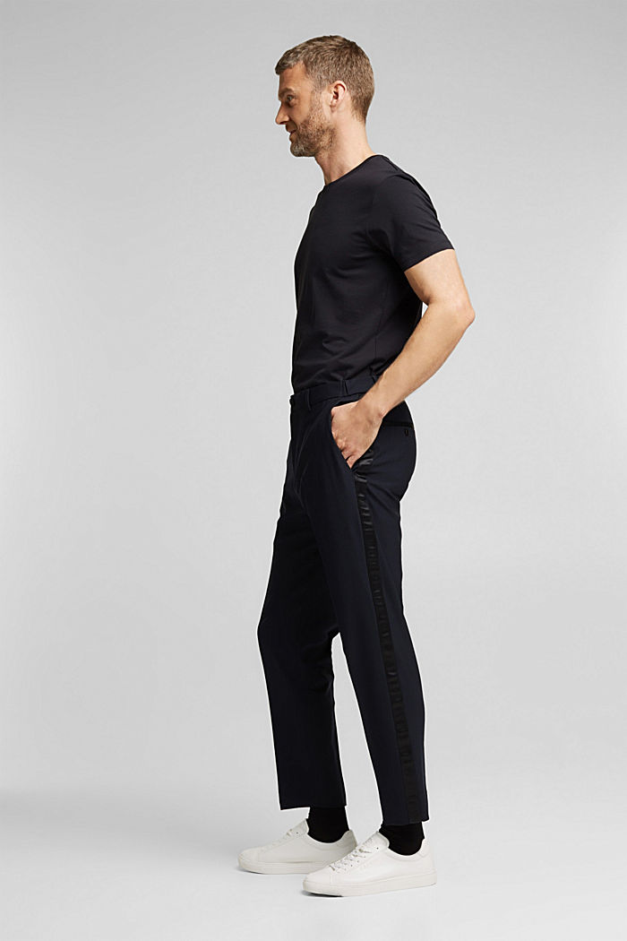 ACTIVE JOGG SUIT tuxedo trousers made of blended wool, DARK BLUE, detail image number 4