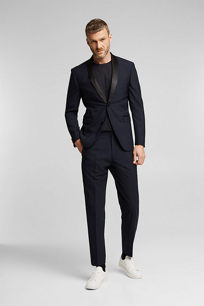 ACTIVE JOGG SUIT tuxedo trousers made of blended wool, DARK BLUE, detail image number 2