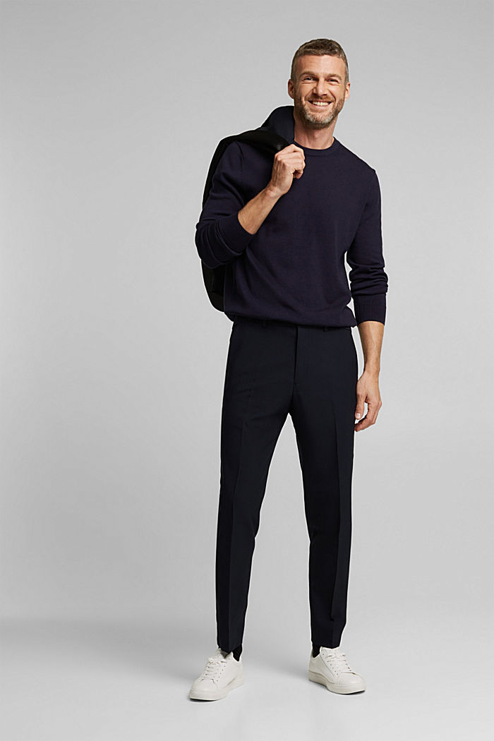 ACTIVE JOGG SUIT tuxedo trousers made of blended wool, DARK BLUE, detail image number 6