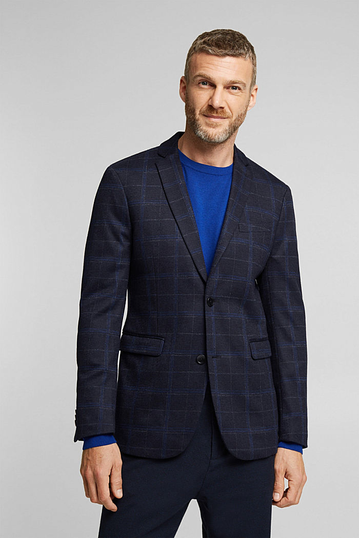 Wool blend: check jacket, DARK BLUE, detail image number 0