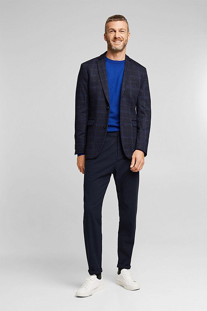 Wool blend: check jacket, DARK BLUE, detail image number 1