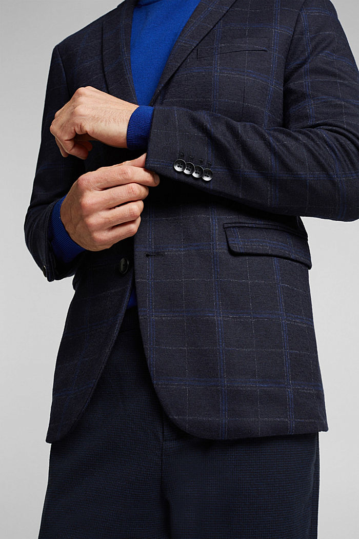 Wool blend: check jacket, DARK BLUE, detail image number 2