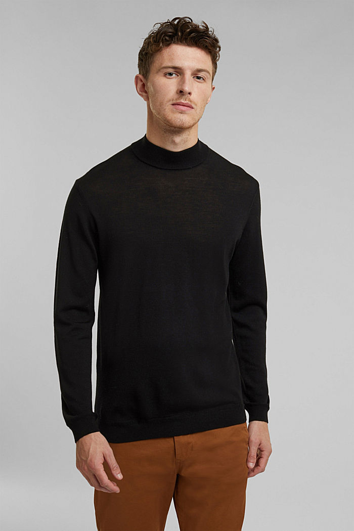100% wool jumper with a stand-up collar, BLACK, overview