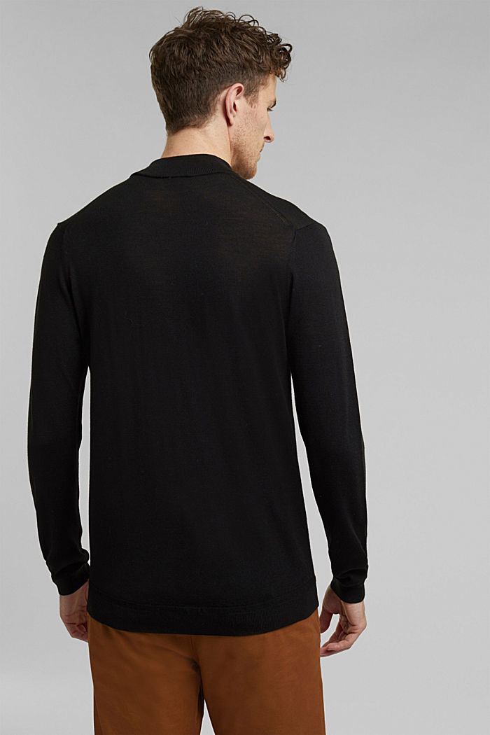 100% wool jumper with a stand-up collar, BLACK, detail image number 3