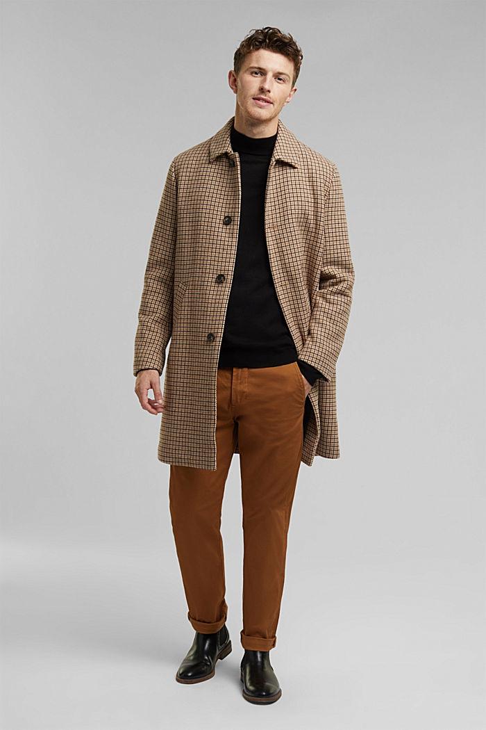Stehkragen-Pullover aus 100% Wolle, BLACK, detail image number 1