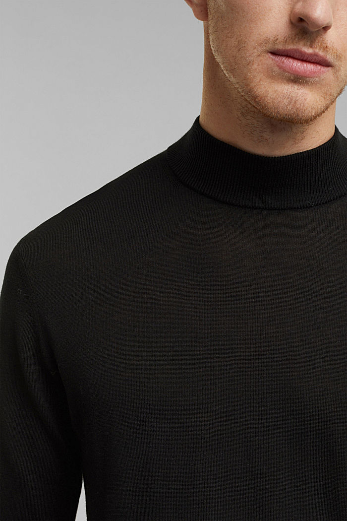 100% wool jumper with a stand-up collar, BLACK, detail image number 2