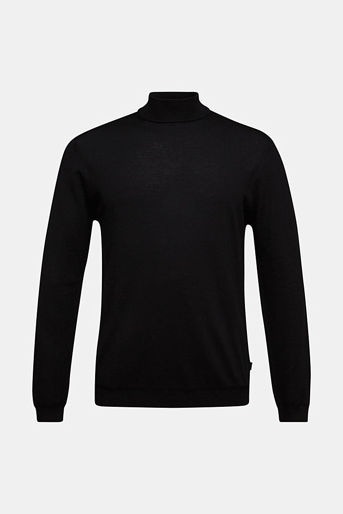 100% wool jumper with a stand-up collar, BLACK, detail image number 5
