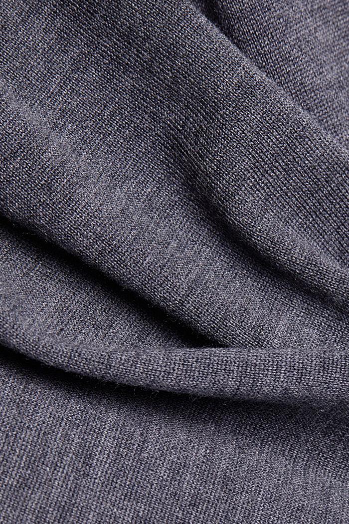 Trui met opstaande kraag, van 100% wol, DARK GREY, detail image number 4