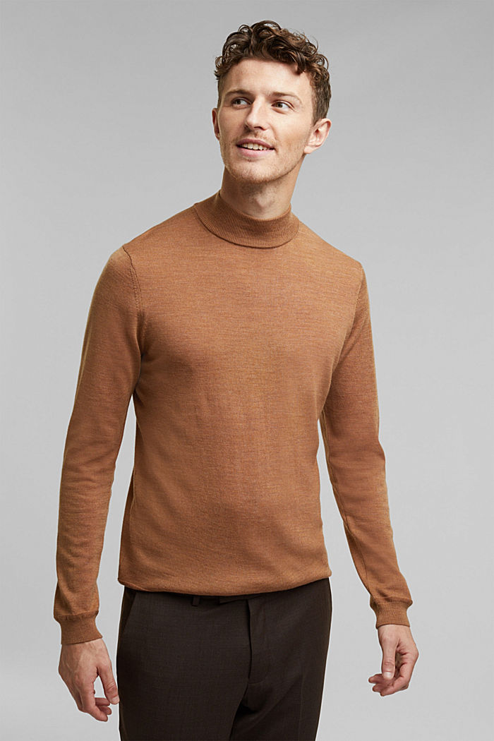 100% wool jumper with a stand-up collar, CAMEL, detail image number 0