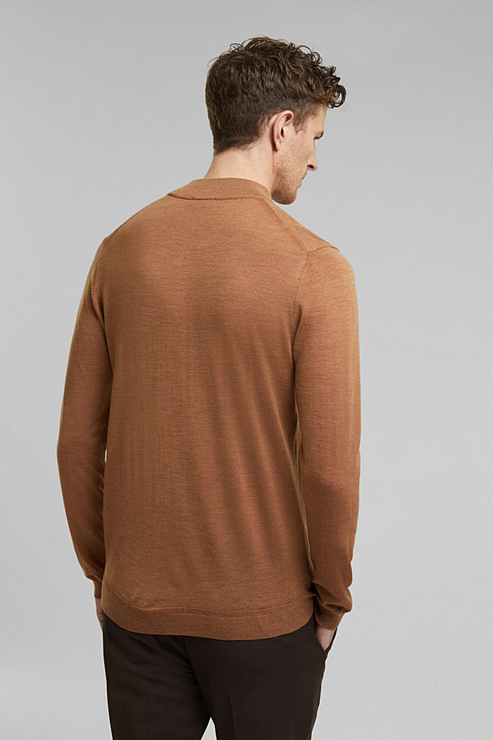 Stehkragen-Pullover aus 100% Wolle, CAMEL, detail image number 3