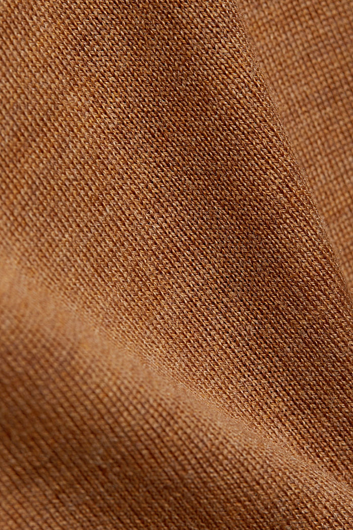 Stehkragen-Pullover aus 100% Wolle, CAMEL, detail image number 4