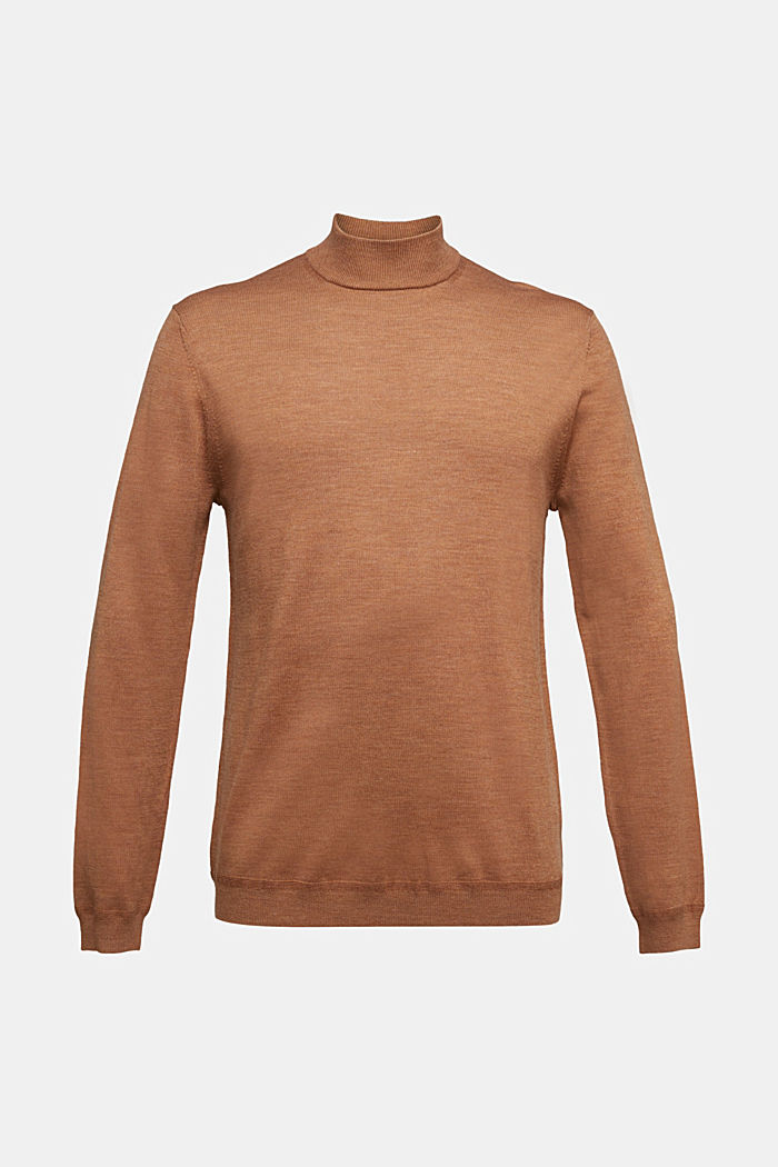 100% wool jumper with a stand-up collar, CAMEL, detail image number 5