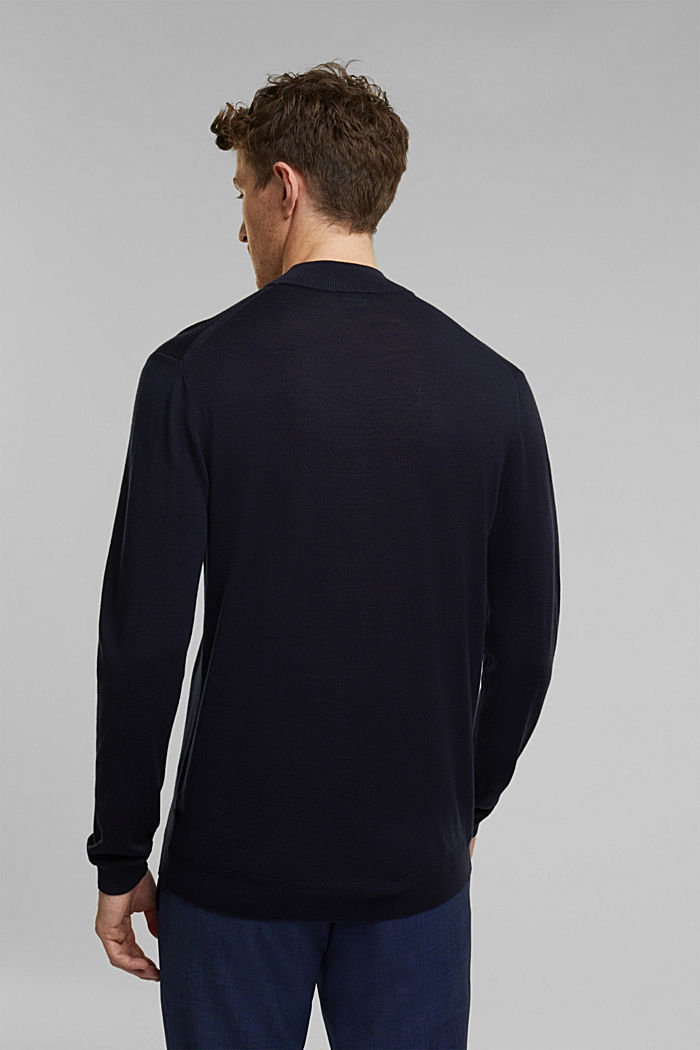 100% wool jumper with a stand-up collar, NAVY, detail image number 3