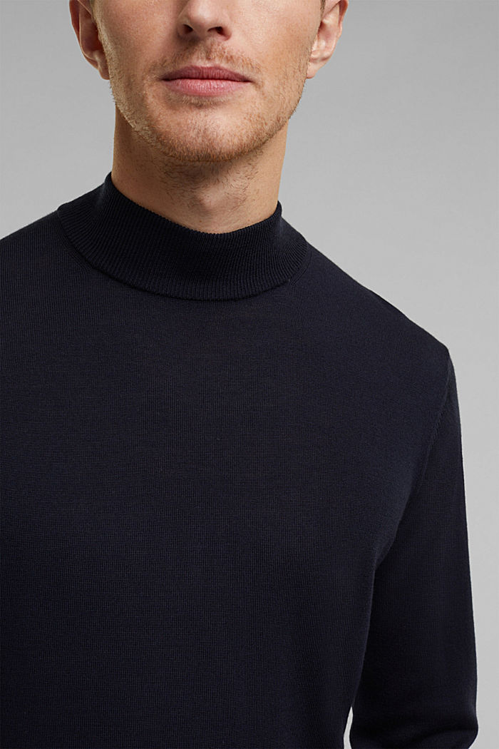 100% wool jumper with a stand-up collar, NAVY, detail image number 2