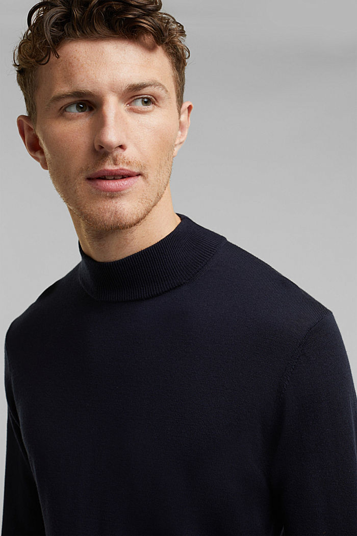 100% wool jumper with a stand-up collar, NAVY, detail image number 5