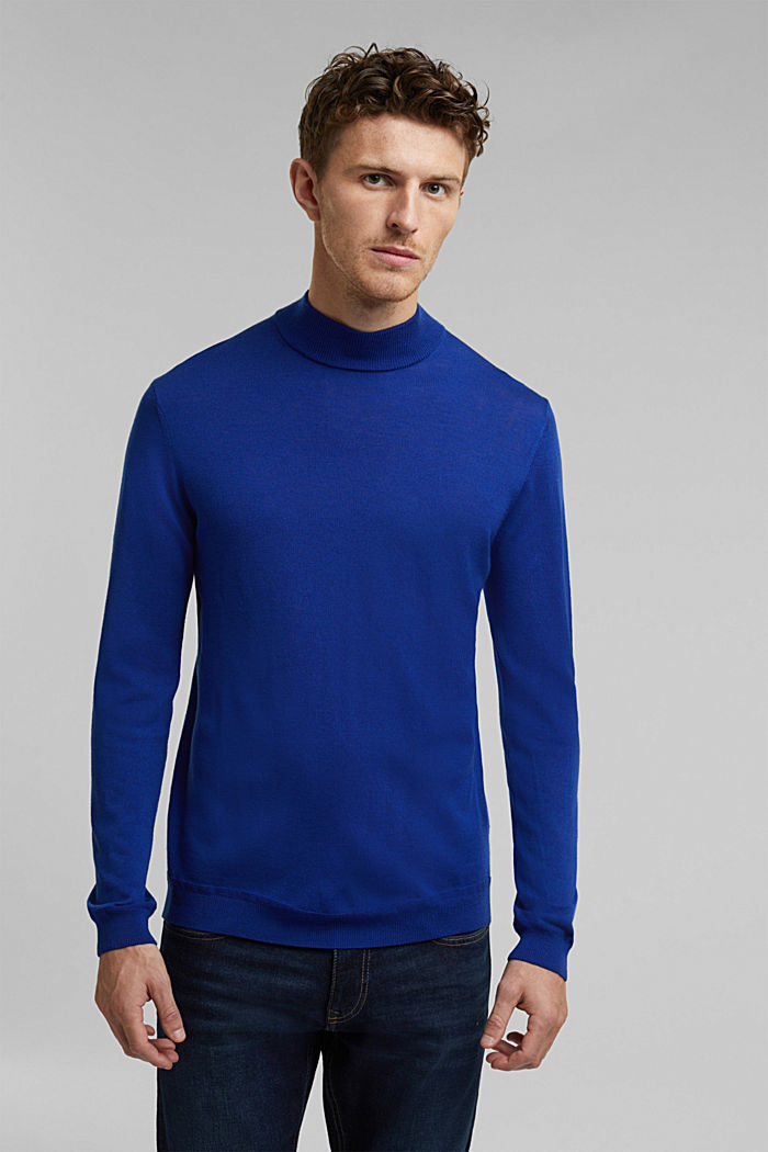 100% wool jumper with a stand-up collar, BRIGHT BLUE, detail image number 0