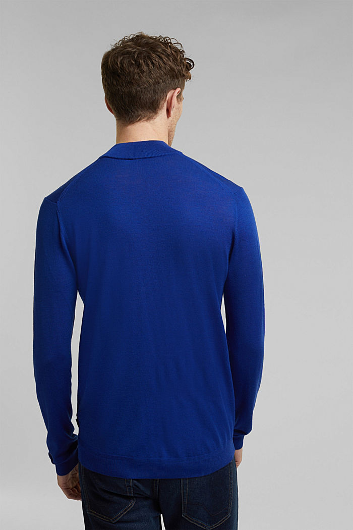 100% wool jumper with a stand-up collar, BRIGHT BLUE, detail image number 3