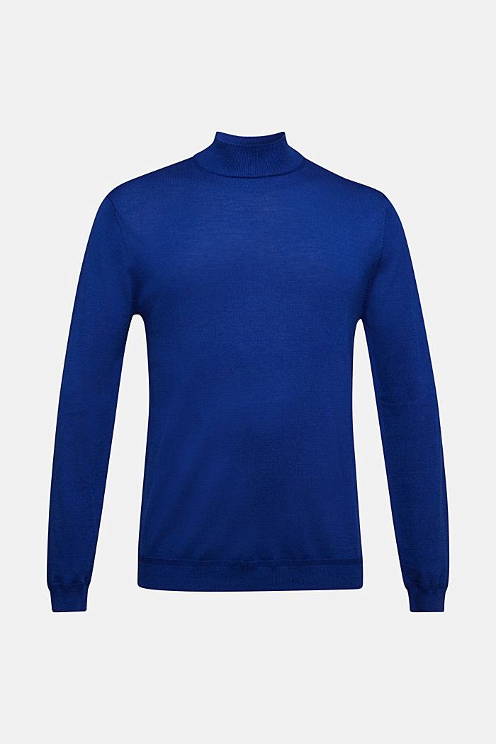 100% wool jumper with a stand-up collar, BRIGHT BLUE, detail image number 5
