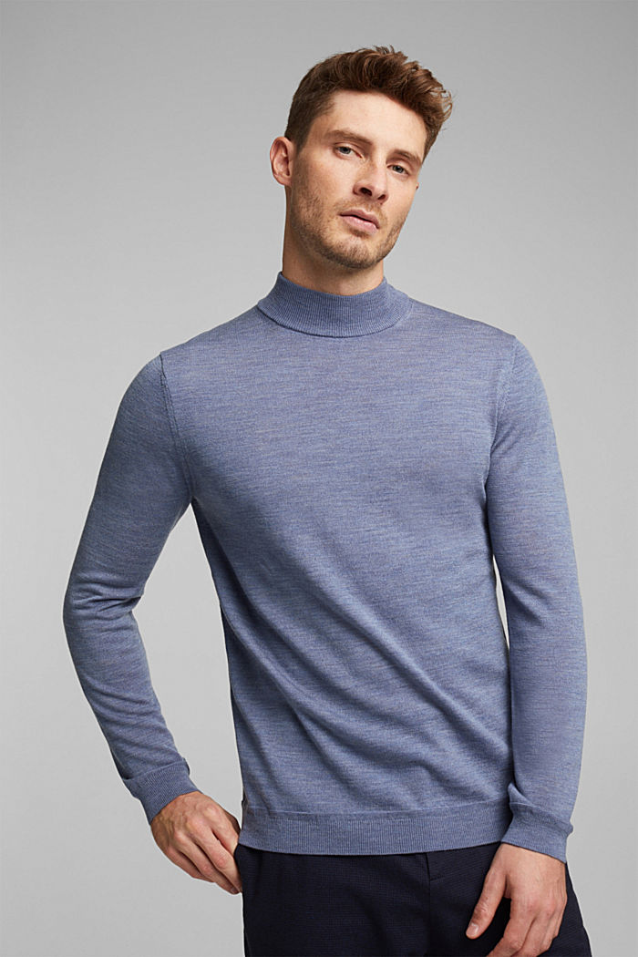 100% wool jumper with a stand-up collar, BLUE LAVENDER, detail image number 0
